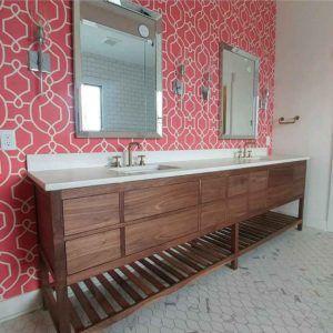 Banyo Dolabı Çift Evye Masif