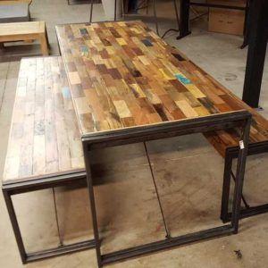 Endüstriyel Masif Yemek Masası Metal Ayak