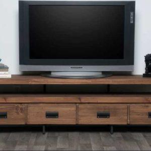 Rustik Tv Ünite Gövde Masif Profil Metal Ayak 4 Çekmece