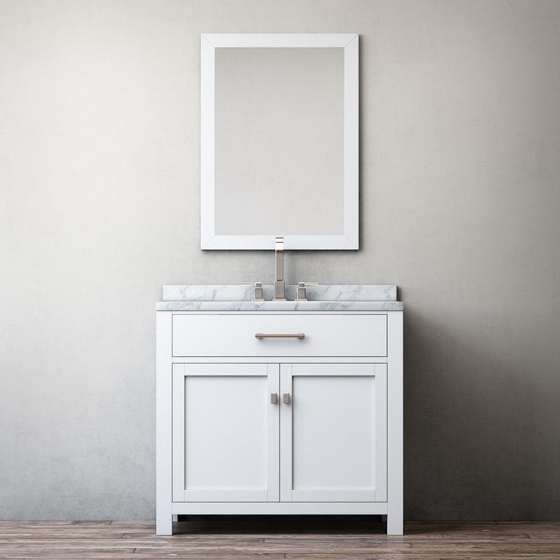Banyo Dolabi Ve Ayna Cercevesi Beyaz Mdf Masif Lake 2